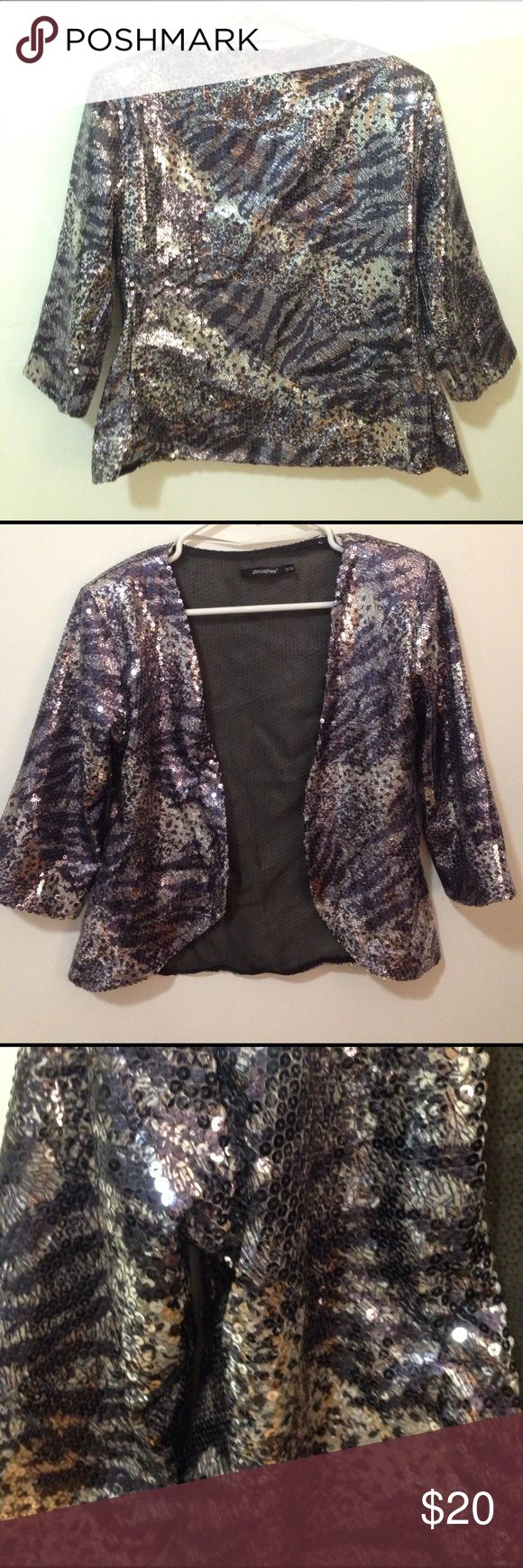 Amazing Sequined Blazer - Purchased in London Silver and blue sequined polyester blazer from the U.K. ✨⚡️✨ Jackets & Coats Blazers