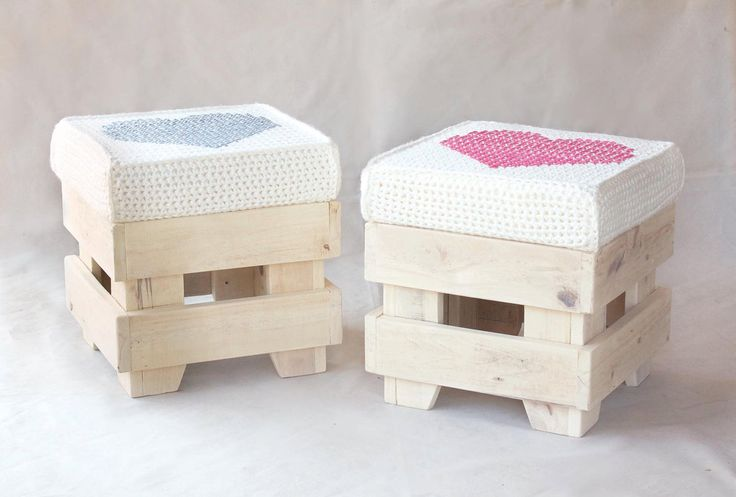 Craft forniture - pouf with pink heart pillow. €148.00, via Etsy.