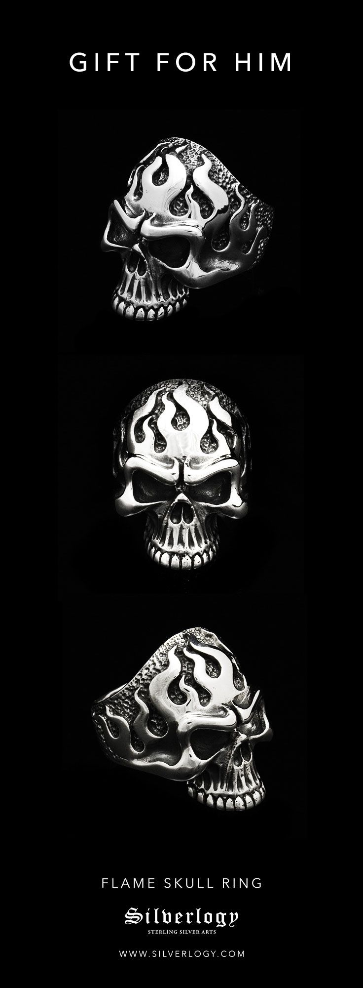 Sterling silver flame skull ring. A perfect gift for him. Check it out here: https://silverlogy.com/collections/skull-rings/products/flame-skull-ring?utm_source=pinterest&utm_campaign=flame_skull_ring