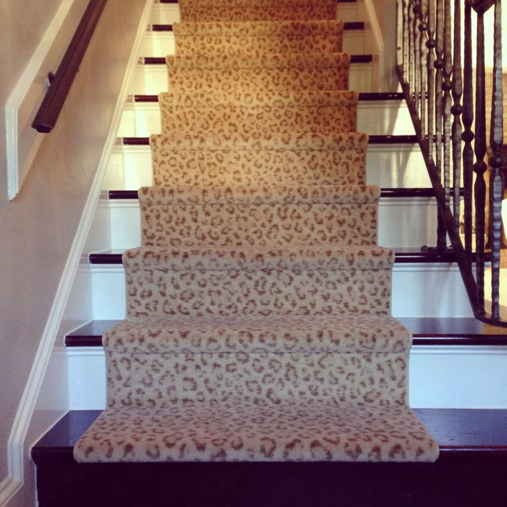 21 best images about stair runners on pinterest leopard for Leopard print carpet stair runner