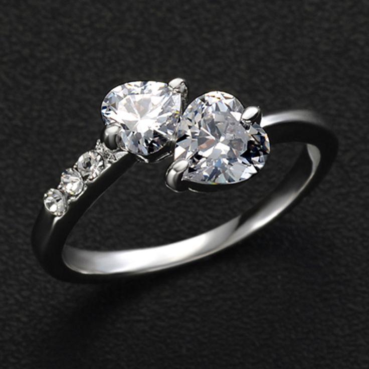 17 KM 2/Kleur hot Nieuwe Ontwerp Mode dubbele hart goud Kleur Zirkoon Oostenrijkse Crystal trouwringen sieraden