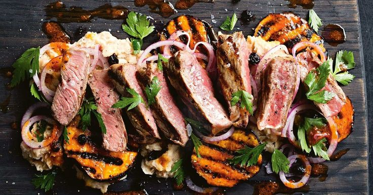 This fast 30-minute dinner offers the perfect combination of tender steak, creamy mash and juicy grilled eggplant.