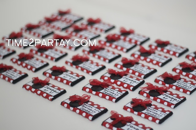 Time2Partay.com: Minnie Mouse Birthday Party Supplies #chocolate #favors #red #black