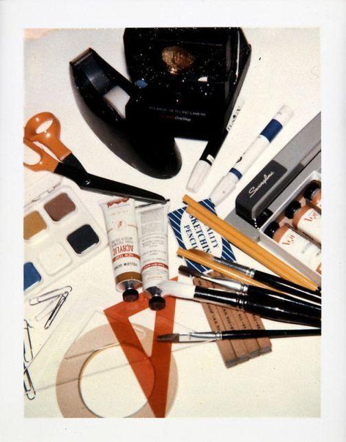 Artist materials still life polaroid by Andy Warhol.