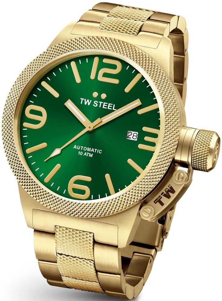 TW Steel Canteen Gold 50mm Automatic Movement Watch Green Dial CB226