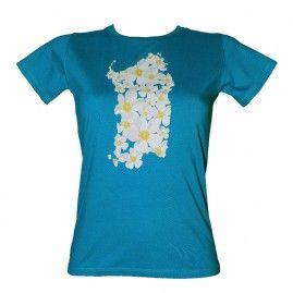 T-shirt Flowers Island Donna blu
