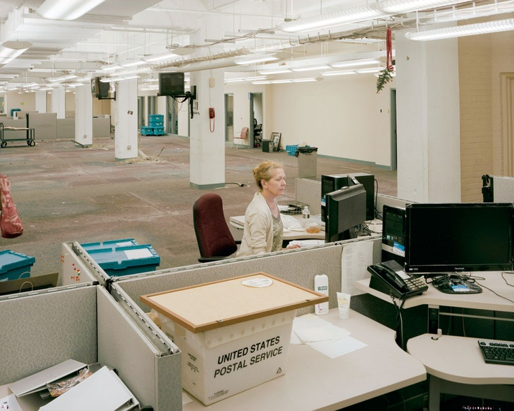 Switching off the light of history, one newspaper at a time.  [Cheryl Shugars, Photo Editor, Last One Out On Night Of Move, 10:08pm, 2012; photos by Will Steacy about the downsizing of the Philadelphia Inquirer, the 3rd oldest surviving newspaper in the US]