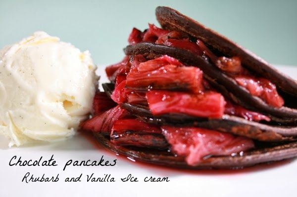 The good life mum: Chocolate pancakes with Rhubarb compote & Vanilla Ice cream