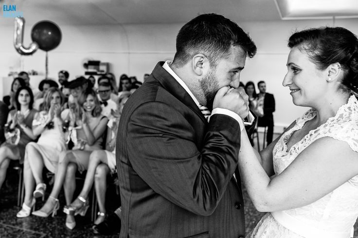 A moment from a wedding ceremony at the Mile End Art Pavilion in Easr London