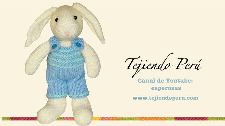 Conejos tejidos en dos agujas o palillos: overol (overall) del conejito
