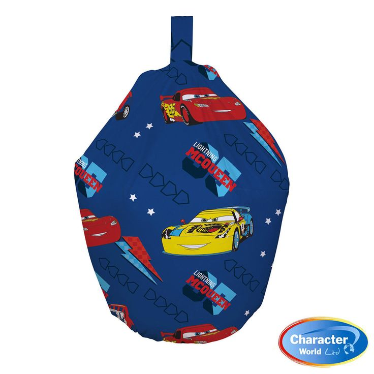 This childrens bean bag is an officialy licenced Disney Pixar Cars bean bag.   This Disney cars beanbag is an officially licensed childrens character beanbag.   Your kids will love the soft and cushioned comfort of these disney cars bean bags, while reading, watching tv or playing games. A nice rich dark blue with Lightning McQueen driving around the bean bag.  This Disney Cars Piston Bean Bag has Fast & Free Shipping Within The UK!