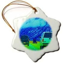3dRose - Jos Fauxtographee Realistic - Cars on the road outside of Salt Lake City, Utah in Neon colors - Ornaments