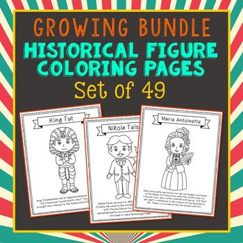 Set of 49 Historical Figure Coloring Pages or Posters with Short Biographies. Makes a great addition to history interactive notebooks, biography projects, or research units. Please note that this is a GROWING BUNDLE. Amelia Earhart, General Patton, Joan of Arc, Marie Antoinette, Daniel Boone, Mahatma Gandhi, Rosa Parks, Christopher Columbus, Cleopatra, Plato, Martin Lither King, Jr., Babe Ruth, Sacagawea, William Shakespeare, Mother Teresa, Eli Whitney
