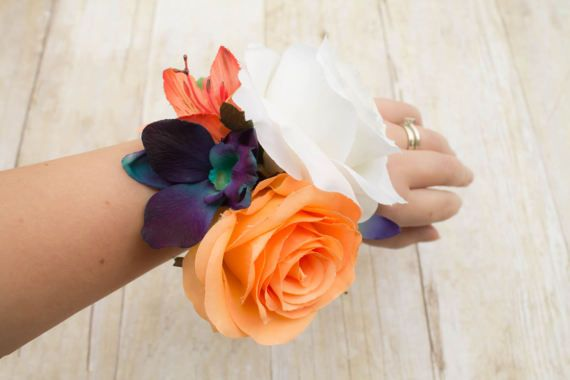 Hey, I found this really awesome Etsy listing at https://www.etsy.com/listing/519355669/tropical-wrist-corsage-teal-orange