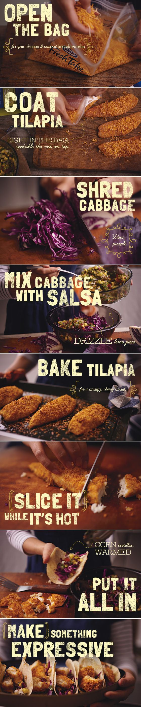 Tilapia Tacos - kind of only pinning this to see how the fish is prepared...maybe I can make something like my own homemade fish sticks. Only fish I'll eat XD