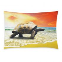 InterestPrint Home Decor Big Sea Turtle , Turtle on the Tropical Oceans Beach Pillowcase 20 x 30 Inches (One Side) - Sunset Soft Pillow Cover Case Shams Decorative