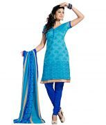 Riti Riwaz Sky Blue Chanderi Cotton Un-stitched Dress Material