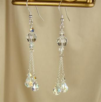 handmade brides jewelry | Crystal Tassel Earrings Handmade Bridal Jewelry