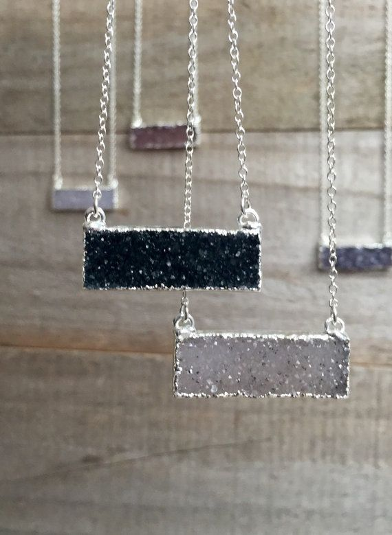 YOUR CHOICE! Super sparkly, druzy quartz gemstone bar rests sideways along a delicate cable chain. Natural druzy stone has a beautiful crystalline surface.