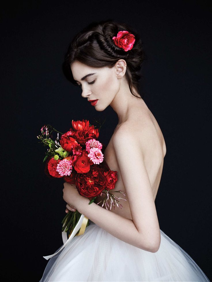 Silk-tulle-and-mesh crinoline by Delpozo, price upon request. Bouquet by Tin Can Studios.