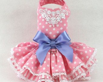 Dog Dress Dog Harness Dress Polka Dot Dress by LittleDogFashion