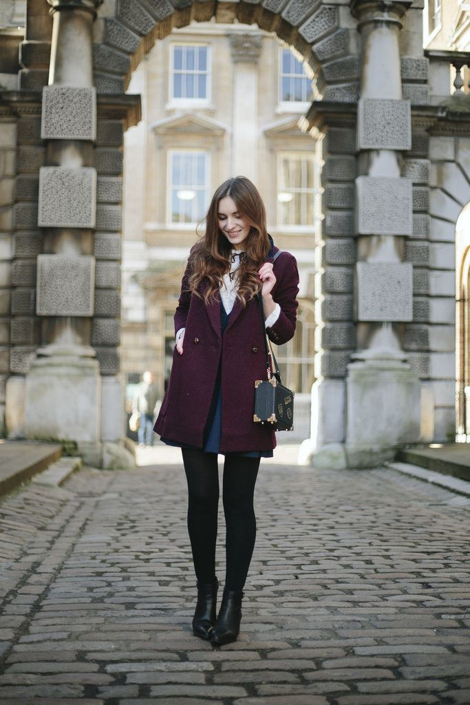 blouse, burgundy coat, long coat, hair, chelsea boots, heeled, black, fashion, autumn, meal out