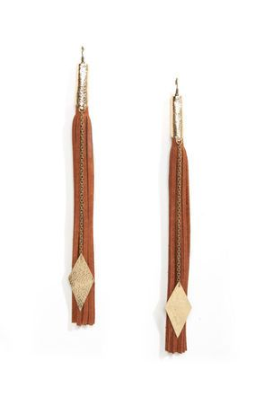 Claire Fong Brown Fringe Earrings - Leather Earrings - Long Earrings - $36.00