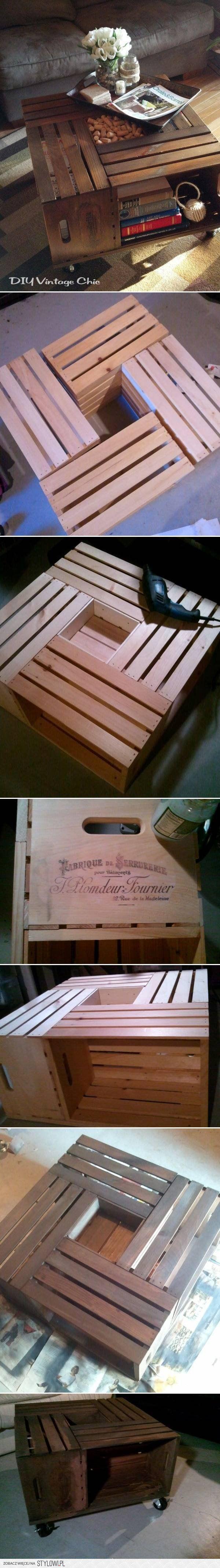 DIY Wine Crate Table DIY Projects | UsefulDIY.com