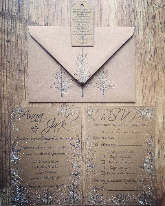 SAMPLE - Rustic Winter Wedding Invitation Suite, Rustic Wedding, Winter Wedding…