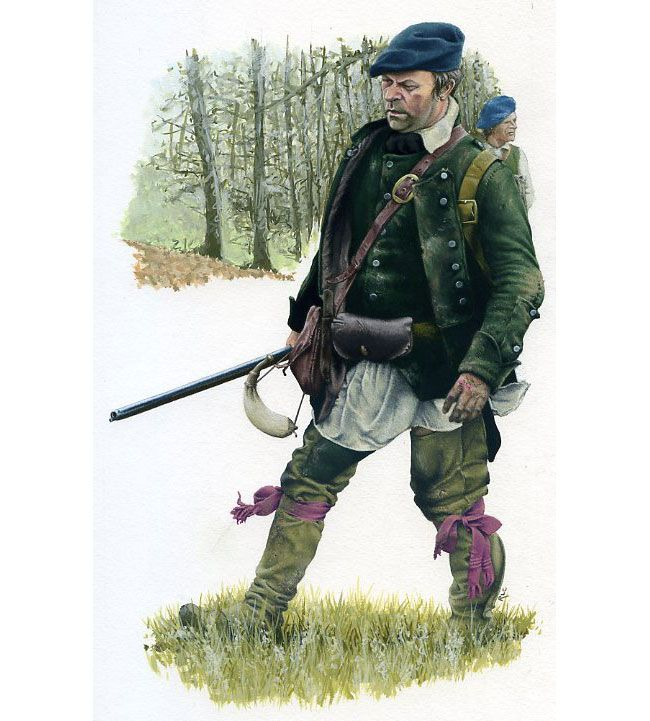 Ticonderoga, 1758 One of Roger's Rangers scouts a path for redcoat troops to escape the ill planned attack on Fort Ticonderoga. The Rangers, as irregulars, fought in a more individual, field crafted manner but were never able to match France's native allies. By Rob Chapman