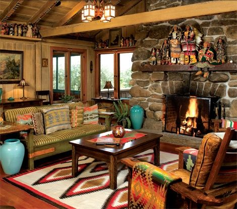 love the pops of turquoise in this brightly colored western living room - Western Interior Design Ideas