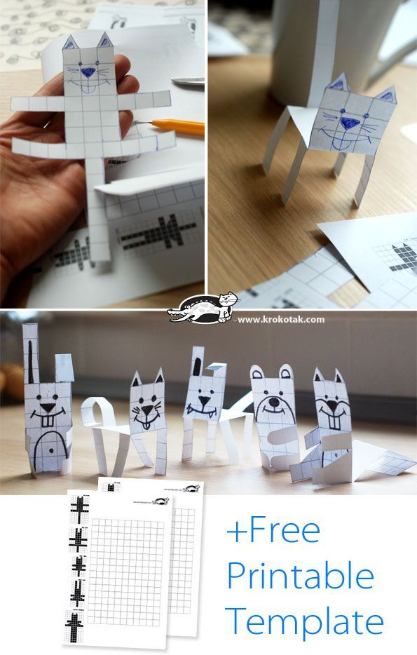 Free block paper animals-These are perfect for teaching area and perimeter.