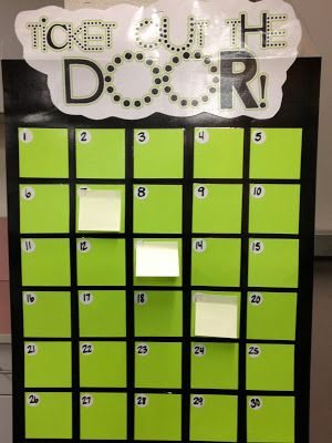 Teach-A-Roo: exit ticket idea. Easy way to make a board too:)