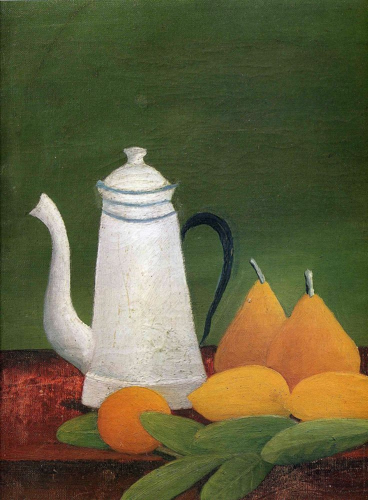 Henri Rousseau: Still-life with pears, orange, citrons and coffee pot