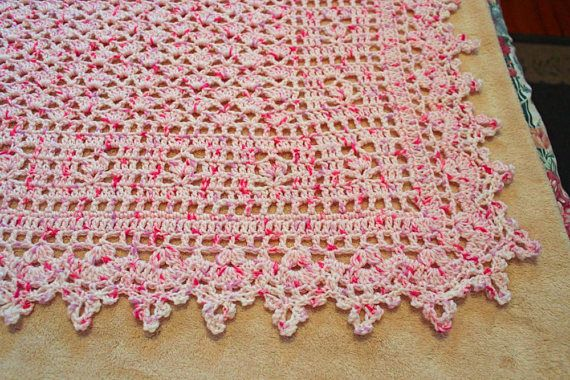 Pretty pink and white crocheted baby blanket baby girl
