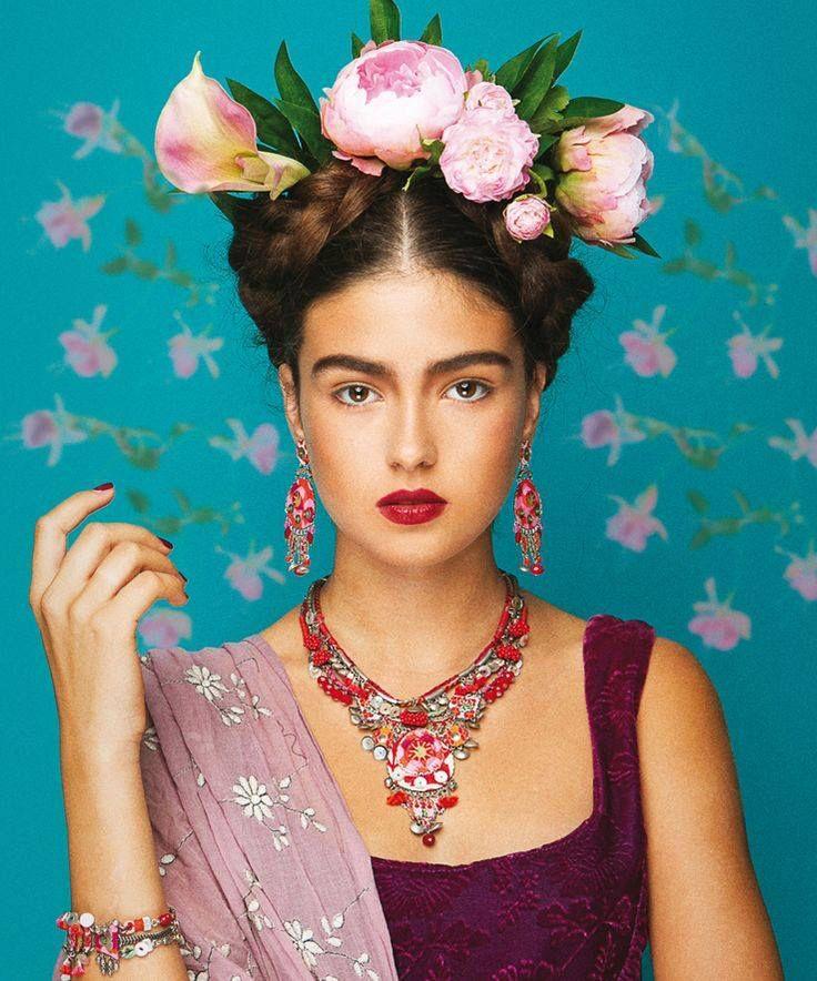 Frida Khalo Inspired look - Hot Fashion Trend: Big, Bold Flower Crowns. - Fashion Blog