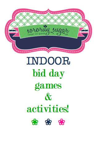 Spring bid day can mean cold weather and an indoor celebration. If you are looking for some inside games and activities, sorority sugar has a list of ideas for your chapter! <3 BLOG LINK: http://sororitysugar.tumblr.com/post/101358788564/indoor-bid-day-games-activities#notes