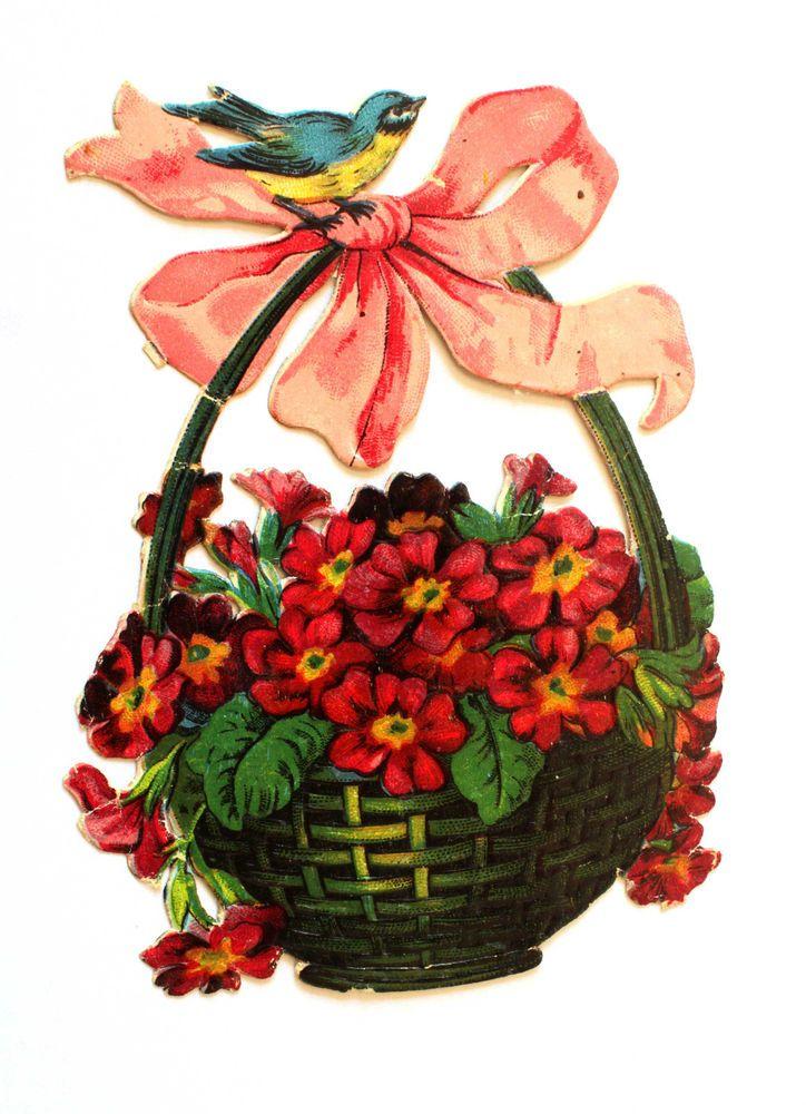 alte Oblate /victorian die cut  Blumenkorb