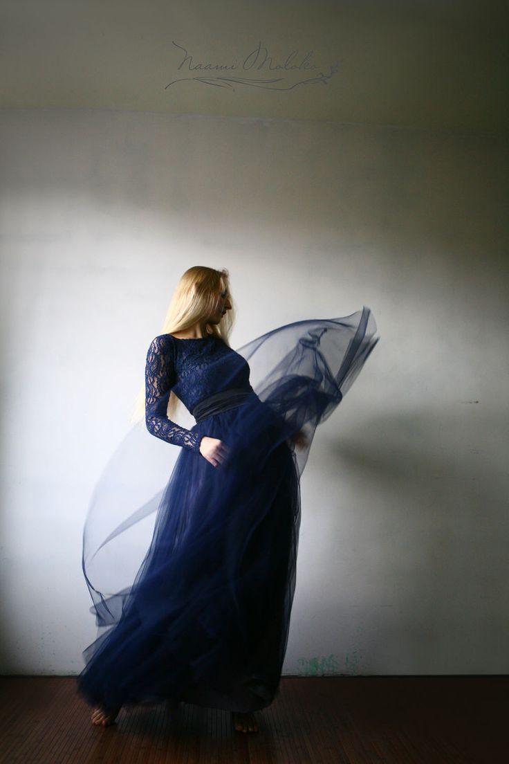 """Купить Платье """"Жамииля"""" - тёмно-синий, пейсли, платье, сетка, пышное платье, волшебное платье"""