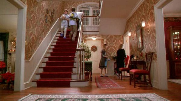 Home Alone movie house entry hall staircase...........love love love this house