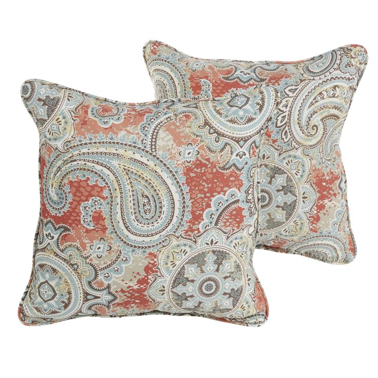 Sloane Coral Paisley Indoor/ Outdoor 18 inch Corded Pillow Set (OSPS7311), Orange (Polyester), Outdoor Cushion