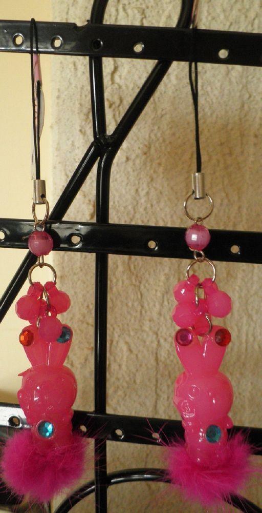 bijou de téléphone portable lapin rose fourrure-strass diamant-perles à facette*