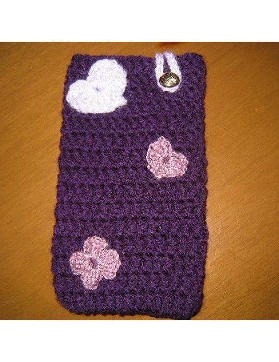 Πλεχτή Θήκη Πουγκί για iPhone 6 Plus / Galaxy Note 2 / 3 / 4 - Μωβ με λουλούδια και καρδούλα