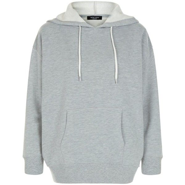 New Look Petite Grey Oversized Hoodie ($23) ❤ liked on Polyvore featuring tops, hoodies, grey, long sleeve hoodie, drawstring hoodie, grey hoodies, hooded pullover and oversized hoodies