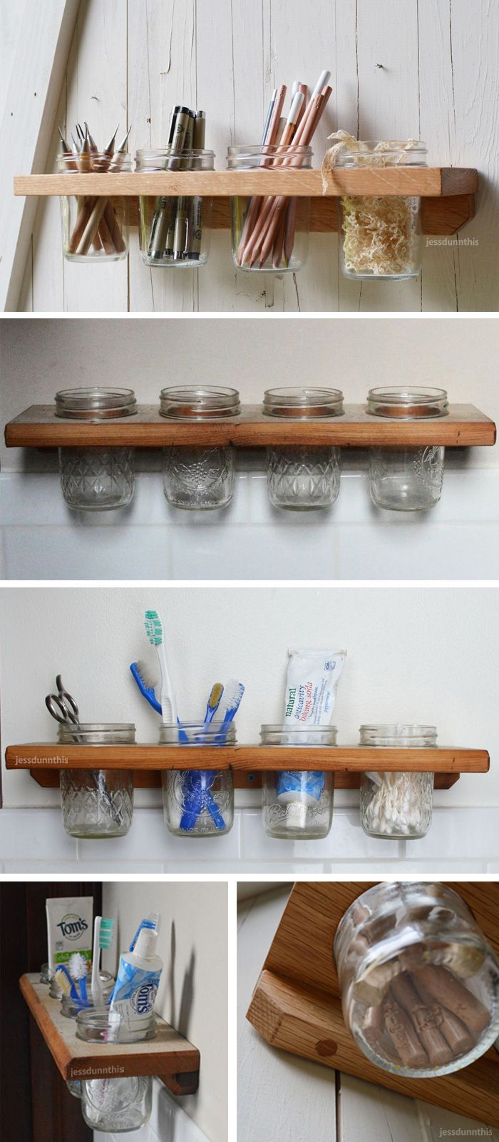 Mason jar wall caddy // perfect for toiletries in the bathroom or stationary in the office #product_design