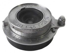 Soviet and Russian Cameras - Fed 4.5/28 mm PT0405. Released by FED since 1937. Focal length - 2.8 cm, aperture range f4.5 - f18. Focusing range from 1 m to infinity. Number of elements/groups: 6/4.  Angular field - 76º.