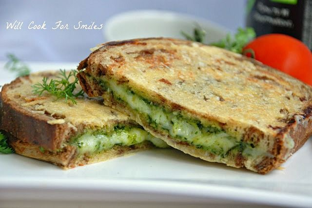 Parmesan Crusted White Pesto Grilled Cheese  | willcookforsmiles.com | #grilledcheese #pesto #sandwich