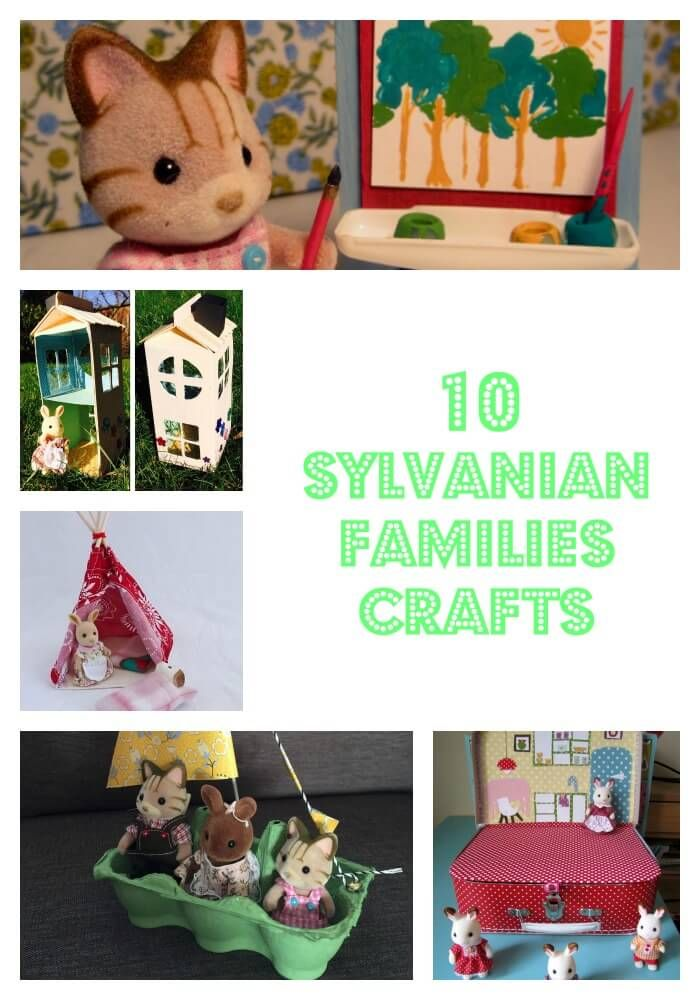 10 Sylvanian Families crafts including how to make a sleeping bag, egg box boat, miniature sofa, juice box house and more.