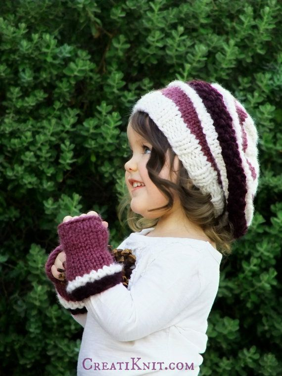 KNITTING PATTERN-The Slouchy Beret and Mittens Set от CreatiKnit