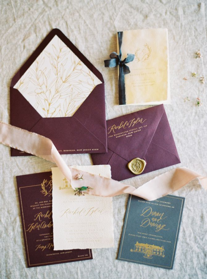 Mauve and slate wedding invitation suite: Photography: Kate Ignatowski - http://www.kateignatowski.com/
